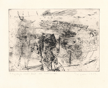 Etching de  : Flooded landscape, Holland