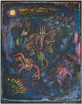 Masson André : Lithographie : Danse de tournesols