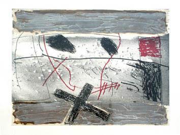 Tàpies Antoni : Gravure eau-forte originale : Détritus