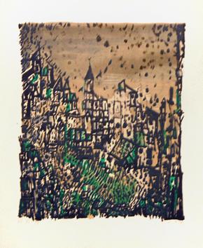 Vieira Da Silva : Lithographie signée : Le village