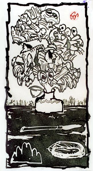 Alechinsky Pierre : Gravure eau-forte originale : Ink