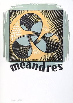 Original signed linocut de  : Méandres
