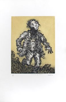 Original signed etching de  : The man who runs