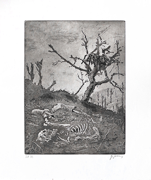 Original signed aquatint de Braun Guy : Les morts, 14-18