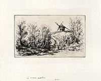 Signierte originale Kaltnadelradierung de  : Le moulin de Penmern