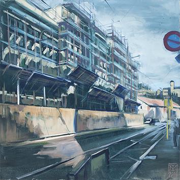 Pittura all'olio originale de  : Trastevere