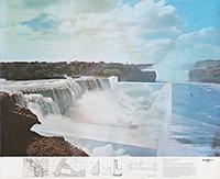 Signiertes Graphik de  : Niagara ou l'architecture réfléchie II