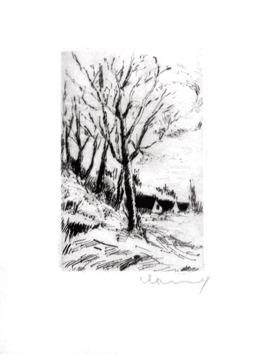 Original signed etching de Vlaminck Maurice : Trees