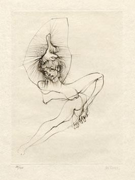 Bellmer Hans : Gravure signée : Femme-jambe