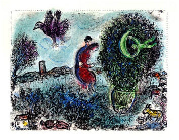 Chagall Marc : Lithographie : La lune dans le bouquet