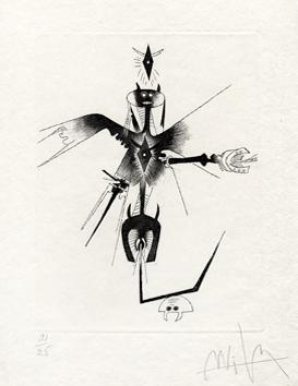 Lam Wifredo : Gravure signée : Croiseur noir I