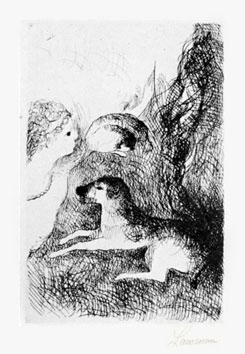 Etching de  : Marie Laurencin and his two dogs
