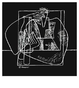 Le Corbusier : Lithographie originale : Bonsoir