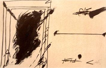 Tàpies Antoni : Lithographie : La ligne d'horizon