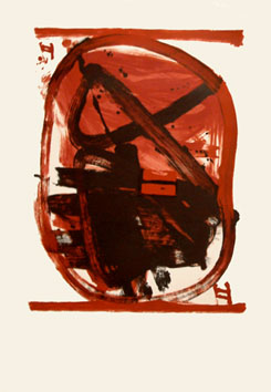 Lithograph de  : Red, black oval