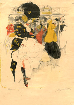 Lithographie originale de  : Danseuse du Moulin Rouge