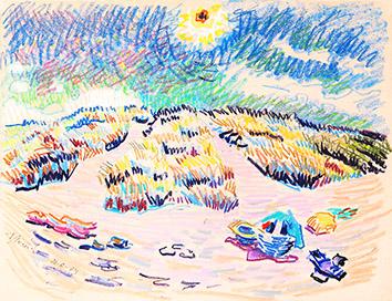 Pastel original signé de  : Coucher de soleil, ile de Ré