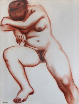 Signed drawing de  : Study of a nude IX