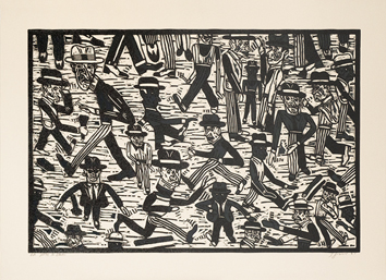 Original signed linocut de  : People in the street I