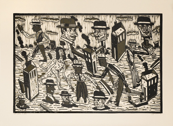 Original signed linocut de  : Puppets in the world