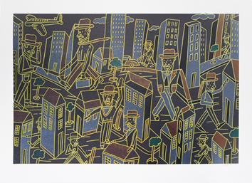Original signed lithograph de  : Composition for City-dweller I b