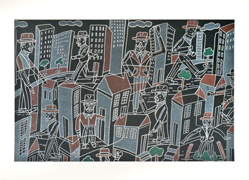 Original signed lithograph de  : Composition for City-dweller III