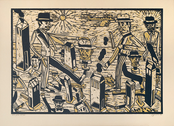 Original signed linocut de  : Unknown title