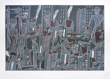 Original signed lithograph de  : City-dweller III