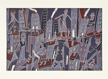 Original signed lithograph de  : City-dweller IV