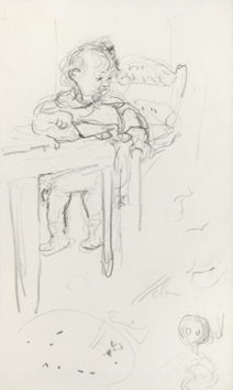 Original drawing in pencil de  : Baby at her table