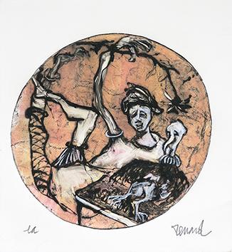 Gravure originale signée de  : Danseuse