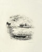 Gravure originale signée de  : Le cahier vert - Fin de Chapitre, Planche 38