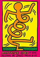Screenprint poster de Haring Keith : Montreux Jazz Festival 1983, pink
