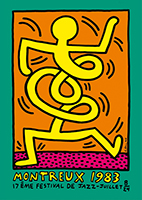 Screenprint poster de Haring Keith : Montreux Jazz Festival 1983, green
