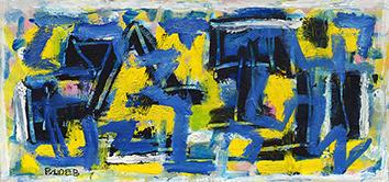 Signierte originale Öl-Malerei de  : Komposition ohne Titel II