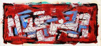 Signierte originale Öl-Malerei de  : Komposition ohne Titel  IV