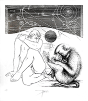 Signed etching engraving de Trémois Pierre-Yves : Man and monkey II
