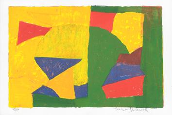 Poliakoff Serge : Lithographie signée : Composition jaune, verte, bleue et rouge