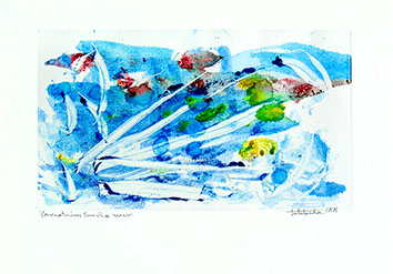 Original signed monotype de  : Variations sous la mer