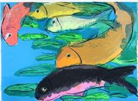 Originale Lithographie de  : Fische