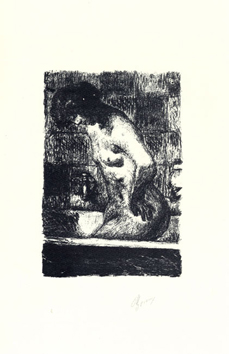 Lithograph signed de Bonnard Pierre : Woman upright in her bath-tub