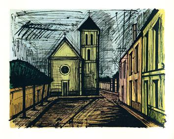 Buffet Bernard : Lithographie originale : Eglise de Verrière
