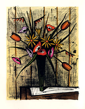 Lithograph signed de  : Anemones and tulips