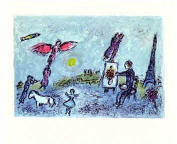 Chagall Marc : Lithographie : Le peintre... double