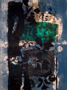 Clavé Antoni : Gravure originale signée : Feuilles noires