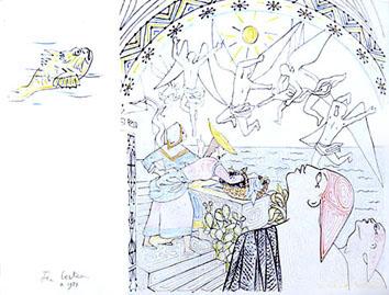 Cocteau Jean : Lithographie : Demoiselles de Villefranche