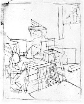Giacometti Alberto : Gravure : Les deux tabourets
