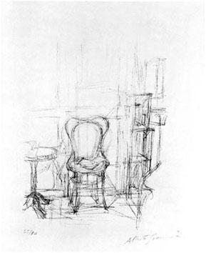 Giacometti Alberto : Lithographie : Chaise et guéridon