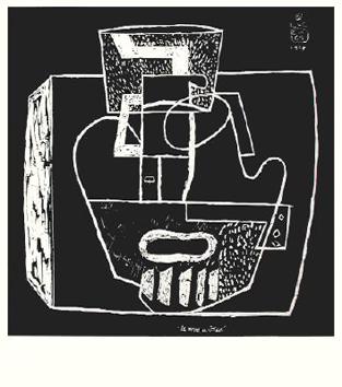 Le Corbusier : Lithographie originale : Le verre à côtes