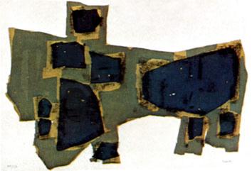 Ubac Raoul : Lithographie originale : Arbres et pierres I